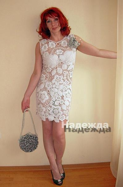 Белое платье вязаное картинки